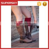 C06 Red Women lace boot socks beautiful pattern women leg warmer knit ladies boot cuff socks
