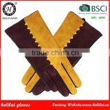 Helilai BSCI Factory Sheep Leather Gloves with the Contrast Suede on the Back Leather Gloves