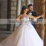 (MY2837) MARRY YOU Half Sleeve Scoop Neckline See Through Ball Gown Crystal Beads For Wedding Dresses