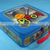 2013 new products metal toy tin box with window and handle from tin can manufacturer in Dongguan China