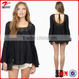 Fashion modeling bohemian tops clothing /long sleeve oversize bohe tops, ladies plus size tops with bell sleeve