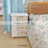 Modern Solid Wood Nightstands Bedside Table With Rattan/wicker Drawer