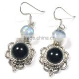 Genuine blue moonstone and black onyx silver dangle earrings