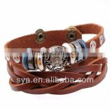 Cow Leather Rope Wooden Bronze Tin Alloy Bead Bracelet