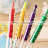 promotion gift DIY creative stationery kids Novelty injection syringe shaped highlighter water color marker pen nite writer pen