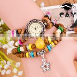 Christmas Gift Casual Watch Star Pendant Women Dress watch Wood Beads Discount Leather Strap Watch