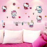 "220x95cm (87""x38"") Hello Kitty Wall Stickers for Kids Rooms Adesivo de Parede Butterfly Bathroom Bedroom Home Decoration CC6967"