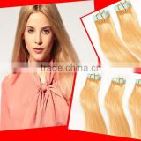 2015Wholesale Top Quality Brazilian Russian PU Skin Weft Remy Cabelo Human Hair Extention Weave Light Blonde Ape Hair Extensions