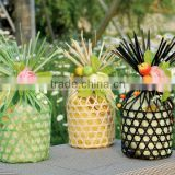 2014 Small round bamboo basket with decorations