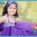 2013 latest fashion kid ball gown fairy dresses 3 layers purple flower girl tutu dress with headband