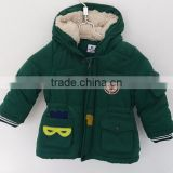 2016 baby boys green ''flying coat'' faux fur inner padded coat for winter