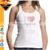 Wholesale White Tanks Ladies Rhinestone Tank Tops for Bride