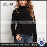 MGOO Manufacturer OEM Custom made 100 Pieces Black Distressed Turtleneck Sweater Tops CVC French Terry Tops