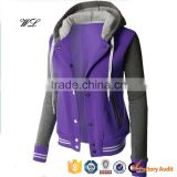Custom made blank baseball jerseys wholesale fashionable zip-up baseball varsity bomber hoodie jacket
