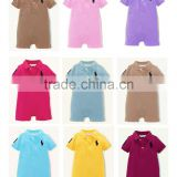 Many Colors Small Lapel Short Sleeve Baby Boy Apparel Clothes Set Romper