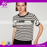 Guangzhou Shandao Garment OEM Service New Design Beaded Style 160g 100% Cotton Short Sleeve O-Neck Striped Women's T Shirts