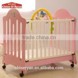 Hot sale small wheels baby wooden nursing bed room furniture childrens baby buggy
