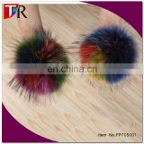 genuine fur factory china developed new color raccoon fur pom pom , 15cm colored raccoon fur ball for beanie