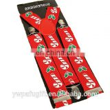 christmas party candy cane & holly adjustable suspenders