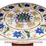 Marble Inlay Round Coffee Table Top with Semi Precious Inlay Work