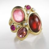 Designs Inspired DY 925 Silver Red Oval Stone Mosaic Ring with Gold Plated