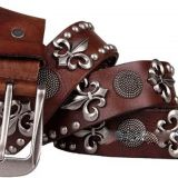 Genuine Leather Vintage Punk Men's Belt Art Belt, Rivet Belts Waist Belt