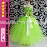 Green Fashion 2014 Beauty Pageant Tutu Dress For Girls Evening Gowns For Kids