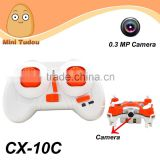 2015 Newest 2.4G Nano Dron 0.3 MP Camera CX-10C Mini Drone Toy With Camera                                                                         Quality Choice