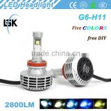 aluminum alloy g6 car kit 25w h11 car led headlight hot sell with NO FANLESS All in one design
