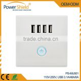 230V 4 USB Charging socket outlet Short Circuit and overload proof (electronic fuse) 6000mA