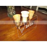 Engraved Acrylic Triple Ice Cream Cone Holder Tray Display Stand Rack Wedding