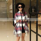 2016winter new arrivial wholesale plaid patterns yarn dyed 100%acrylic scarf ,warm pashmina scarves and shawls with tassels