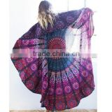 Hot Sale Indian Printed Round Hippy Boho Beach Cotton Tablecloth Towel Blanket Throw Yoga Mat Tapestry Mandala