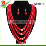 wholesale ladies beaded fashion african jewelry set coral pearl jewelry in red