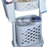 multifunction plastic PP new design oval high quality 2-3 laier folding laundry basket with wheels Dirty Clothes Casket