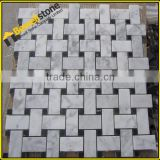 Tumbled meshed back black and white marble mosaic floor tile for spa