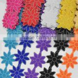 5yards 10colors flower rhinestone Motif Lace Wedding Dance costume Sew On hotfi Applique wide 3.5''