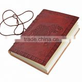 Handmade Embossed Leather Personal Journal Notebook Diary with Elephant Design And Recycled Paper