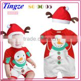 2015 Wholesale infant christmas clothing with hat organic cotton baby rompers wholesale baby clothes TR-CA07