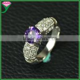 High Quality prong setting 925 sterling silver genuine amethyst finger gemstone Wedding Ring