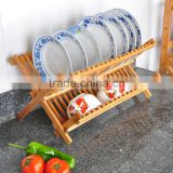 bamboo plate storage rack kitchen dish drainer Bamboo Scissor Style Folding Dish Rack Flatware Holder