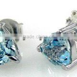 1.90ctw Genuine Blue Topaz Trillion .925 Sterling Silver Stud Earrings