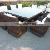 Brown Wicker 10 Seater Dining table set Garden Furniture Set