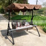 Outdoor double swing chair, rattan hanging swing chair