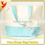Summer Tote Bag Canvas Beach Bag with Bunting Applique