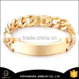 Factory Wholesale Stainless Steel Light Weight Gold Plated Bracelet