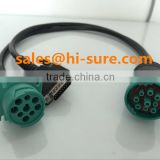wire harness manufacturers Deutsch J1939 to J1939 & DB15P Split Y Cable for heavy duty truck obd diagnostic scanner tool
