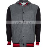 Hooded Varsity Jacket / Hooded Letterman Jacket / Hooded Baseball Jacket grey