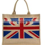 Large Eco-friendly UK British Union Flag Printed Jute Tote Bag
