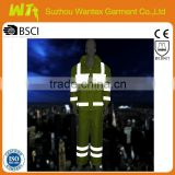 100% polyester with pvc coating waterproof reflective life rainwear working jacket and pants for men